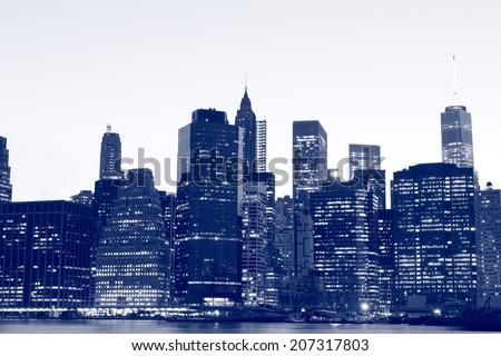 Lower Manhattan Skyline At Night, New York City - stock photo