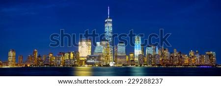 Lower Manhattan skyline panorama at twilight, New York - stock photo