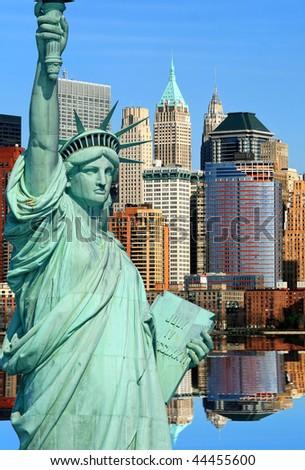 Lower Manhattan skylines in New York City USA - stock photo