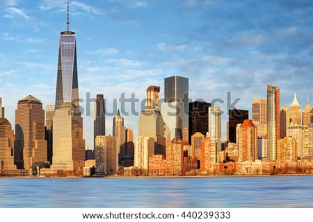 Lower Manhattan skyscrapers and One World Trade Center, New York City - stock photo