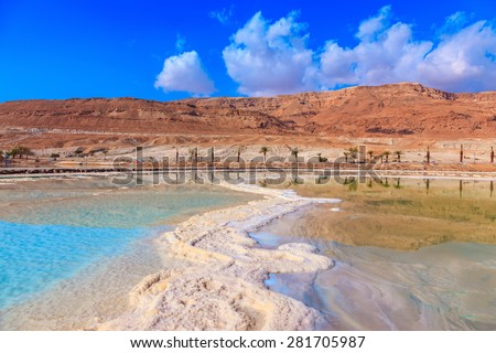 Lowering the water level in the Dead Sea. Evaporated salt out of the water with beautiful patterns - stock photo