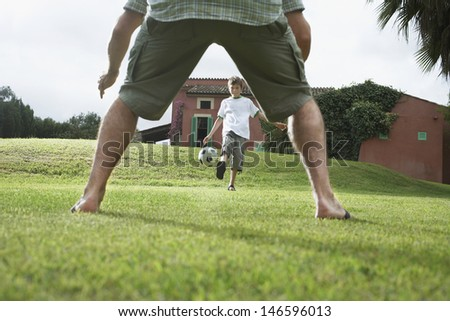 Lowsection of father with son playing football in backyard - stock photo