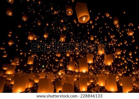 Loy Krathong and Yi Peng Festival, Chiang Mai, Thailand - stock photo