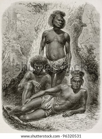 Loyalty islands natives old illustration. Created by Neuville after photo of unknown author, published on Le Tour Du Monde, Paris, 1867 - stock photo