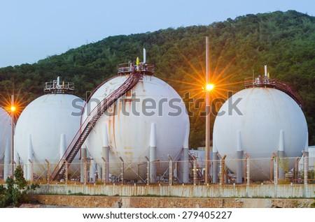 LPG gas industrial storage sphere tanks - stock photo