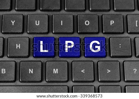 LPG or Liquefied petroleum gas blue word on keyboard - stock photo