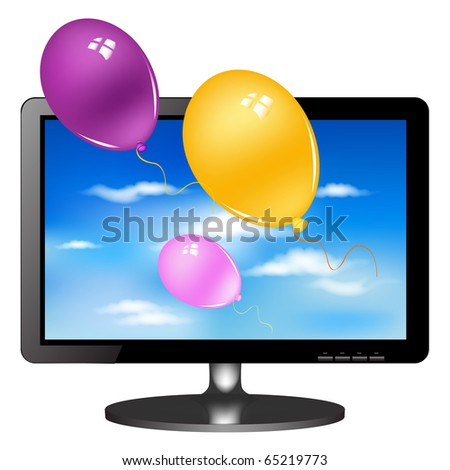 Lsd Tv Monitor With Balloons, Isolated On White Background, Vector Illustration - stock photo