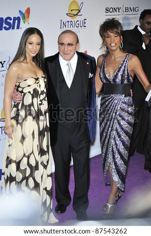 LtoR: Alicia Keys, Clive Davis & Whitney Houston at music mogul Clive Davis' annual pre-Grammy party at the Beverly Hilton Hotel. February 9, 2008  Los Angeles, CA Picture: Paul Smith / Featureflash - stock photo