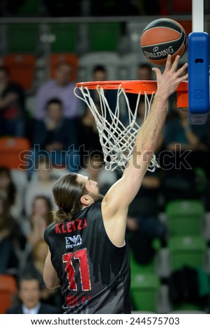 LUBIN, POLAND - DECEMBER 18, 2014:  Linas Kleiza in action during the Euroleague basketball match between PGE Turow Zgorzelec - Emporio Armani Mediolan 96:101. - stock photo