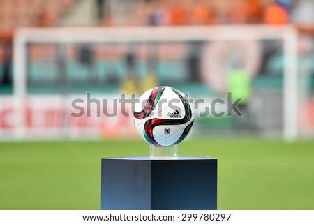 LUBIN, POLAND - JULY 25, 2015: Official ball Polish Premier League before match between KGHM Zaglebie Lubin - Korona Kielce 0:2. - stock photo