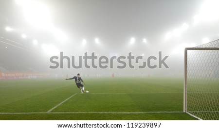 LUBIN, POLAND - NOVEMBER 16: Match Polish Premier League between KGHM Zaglebie Lubin - GKS Belchatow (1:0) in the strong fog on November 16, 2012 in Lubin, Poland. - stock photo