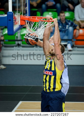 LUBIN, POLAND - OCTOBER 24, 2014: Semih Erden in action during the Euroleague basketball match between PGE Turow Zgorzelec - Fenerbache Ulker Stambul 76:91. - stock photo