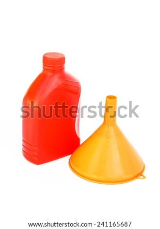 Lubricants plastic bottle and funnel on white background  - stock photo