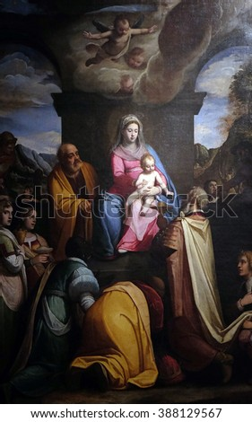 LUCCA, ITALY - JUNE 06, 2015: Altarpiece depicting Adoration of the Magi, work by Federico Zuccari in Cathedral of St.Martin in Lucca, Italy, on June 06, 2015 - stock photo