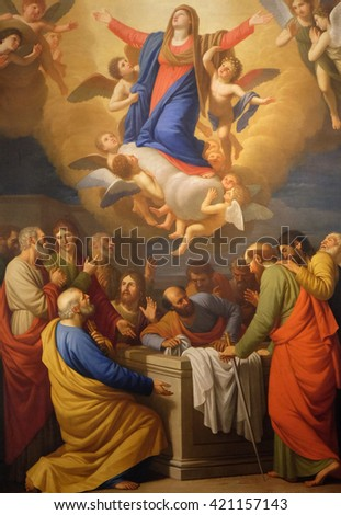 LUCCA, ITALY - JUNE 06, 2015: Altarpiece depicting Assumption of the Virgin Mary, work by Stefano Tofanelliin Cathedral of St.Martin in Lucca, Italy, on June 06, 2015 - stock photo