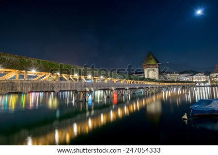 Lucern lake in a quiet night in late autumn season under moonlight - stock photo