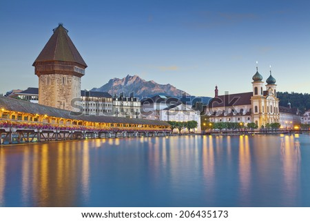 Lucerne. Image of evening cityscape of Lucerne, Switzerland. - stock photo