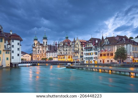 Lucerne. Image of Lucerne, Switzerland during stormy evening. - stock photo