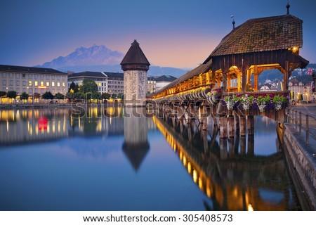 Lucerne. Image of Lucerne, Switzerland during twilight blue hour. - stock photo