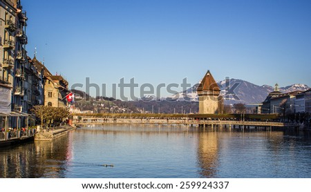Lucerne is a city in central northern Switzerland in the German-speaking area - stock photo