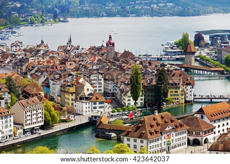 LUCERNE, SWITZERLAND - MAY 04, 2016: General view towards Old City. A variety of buildings shows unique character of the City which offers multitude of tourist attractions - stock photo