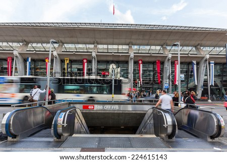 LUCERNE, SWITZERLAND - SEP 16, 2014: Lucerne central train station. It's a famous tourist destination due to its location on the shore of Lake Lucerne within sight of Swiss Alps. - stock photo
