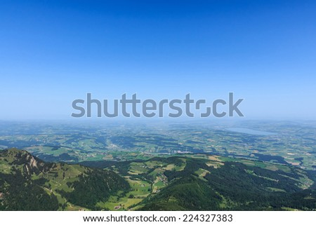 Lucerne view from mountain Pilatus, Switzerland with copyspace - stock photo