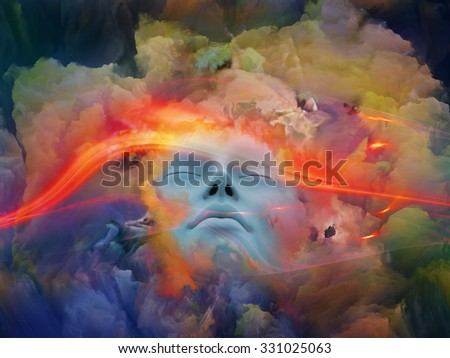 Lucid Dreaming series. Arrangement of human face and colorful fractal clouds on the subject of dreams, mind, spirituality, imagination and inner world - stock photo
