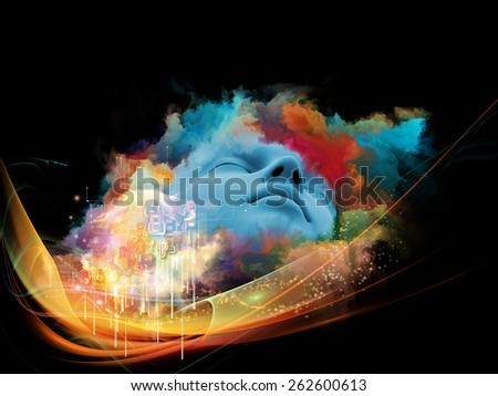 Lucid Dreaming series. Backdrop of human face and colorful fractal clouds on the subject of dreams, mind, spirituality, imagination and inner world - stock photo