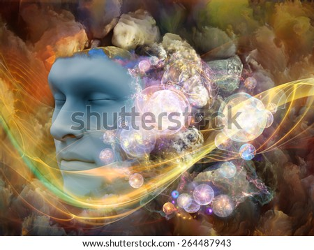 Lucid Dreaming series. Composition of human face and colorful fractal clouds with metaphorical relationship to dreams, mind, spirituality, imagination and inner world - stock photo