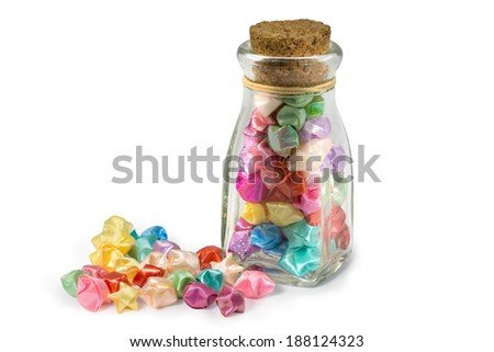 luck star and glass bottle - stock photo