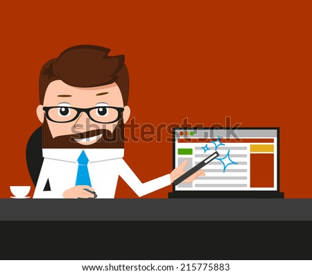 Lucky businessman is presenting a web site. Conceptual illustration.  - stock photo