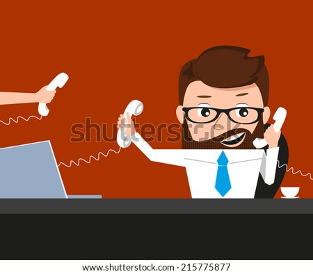 Lucky businessman is speaking via three phones. Conceptual illustration.  - stock photo