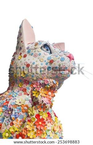 Lucky Cat - Maneki Neko with flower - stock photo