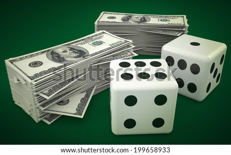 lucky dice and money - stock photo