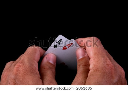 lucky draw hand of poker - stock photo