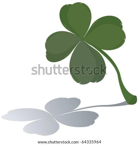 Lucky four leaf clover and shadow - stock photo