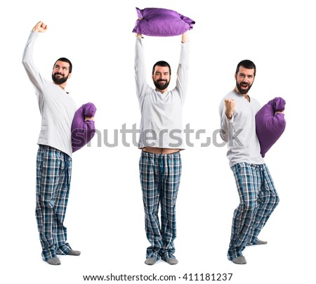 Lucky man in pajamas - stock photo