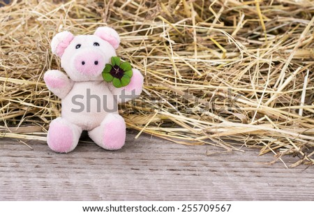 Lucky pig with cloverleaf/cloverleaf/Good Luck  - stock photo