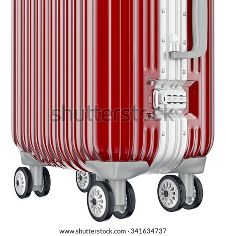 Luggage on wheels, zoomed view. 3D graphic object on white background - stock photo