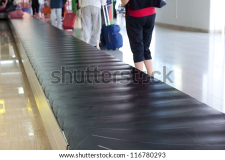 luggage track at an airport - stock photo