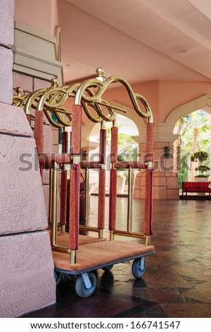 luggage trolley at the hotel - stock photo