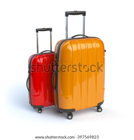 Luggage. Two baggage suitcases  isolated on white. 3d - stock photo
