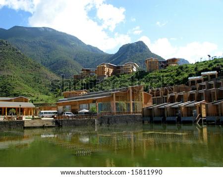 Lugu Lake lanscape, Yunnan province, China, panorama - stock photo