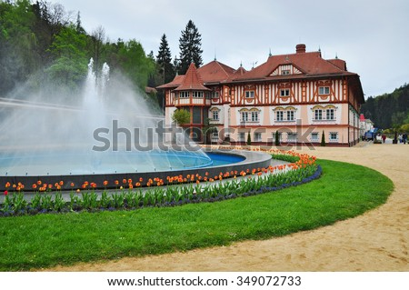 Luhacovice, czech old spa town.  - stock photo