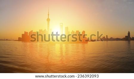 Lujiazui Finance&Trade Zone of  Shanghai landmark skyline at panoramic - stock photo