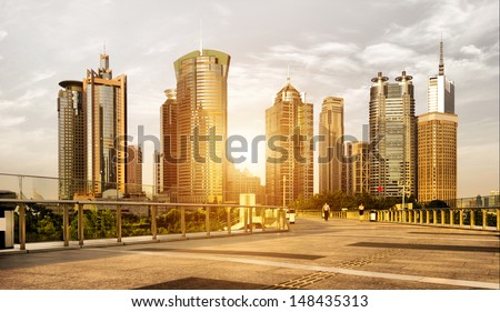 Lujiazui Financial Center skyscrapers at dusk scenery, Shanghai, China. - stock photo