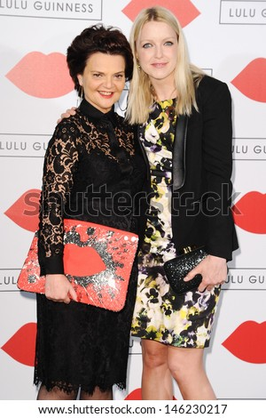 Lulu Guinness and presenter, Lauren Laverne arrives for The Lulu Guinness Paint Project Event at the Old Sorting Office, London. 11/07/2013 - stock photo