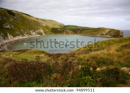 Lulworth Cove in Dorset. - stock photo