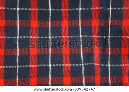 Lumberjack Tartan and Buffalo Check Plaid Patterns in Red, Dark Navy Blue, and White. Trendy Hipster Style Backgrounds.  - stock photo